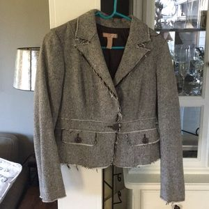 Forever 21  cute frayed cropped blazer brown tweed